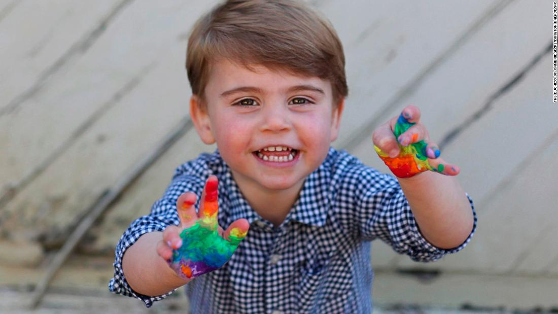 New photos of Prince Louis painting rainbows released to mark his second birthday