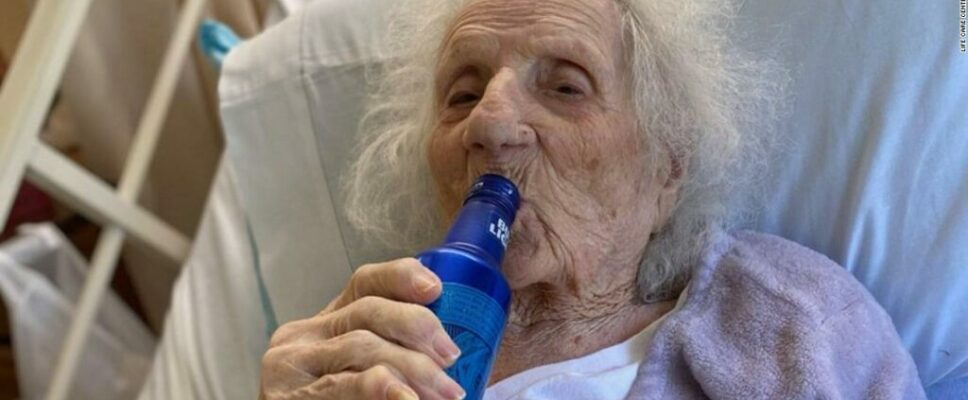 103-year-old female commemorates beating Covid-19 with a cold beer